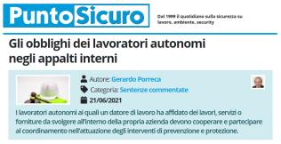 PuntoSicuro - Gli obblighi dei lavoratori autonomi negli appalti interni