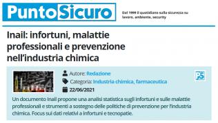 PuntoSicuro - Inail: infortuni, malattie professionali e prevenzione nell'industria chimica