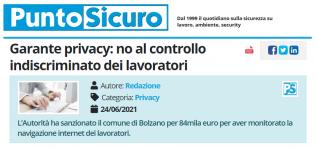 PuntoSicuro - Garante privacy: no al controllo indiscriminato dei lavoratori