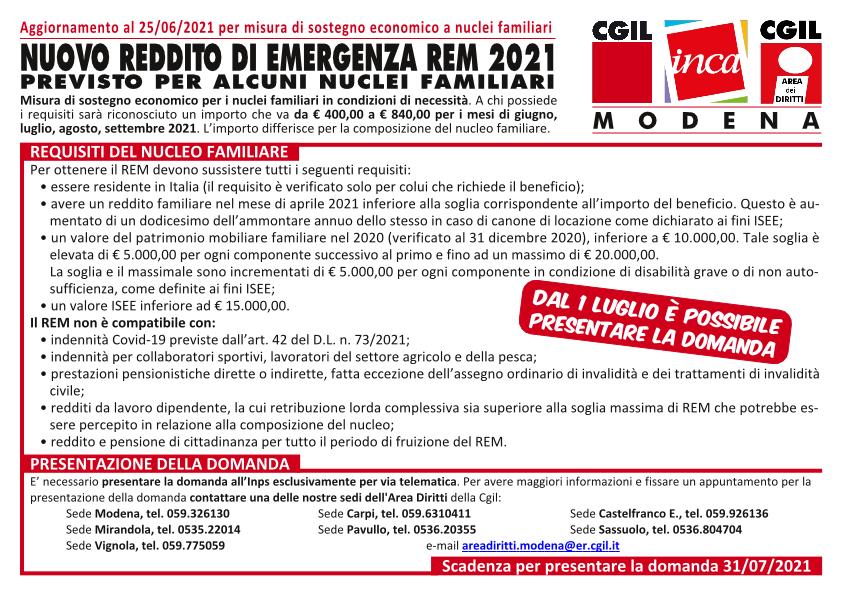 Nuovo Reddito di emergenza 2021 (REM) - Aggiornamento 26/5/2021