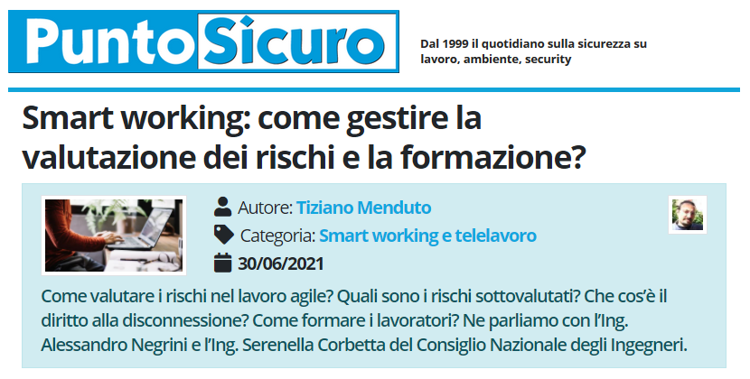 PuntoSicuro - Smart working: come gestire la valutazione dei rischi e la formazione?