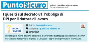 PuntoSicuro - I quesiti sul decreto 81: l'obbligo di DPI per il datore di lavoro