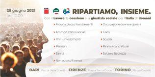 Lavoro: Cgil, Cisl e Uil, il 26 giugno 2021 manifestazioni nazionali a Torino, Firenze e Bari