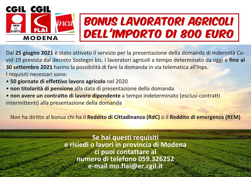 Bonus lavoratori agricoli dell'importo di 800 euro