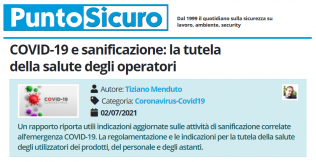 PuntoSicuro - COVID-19 e sanificazione: la tutela della salute degli operatori
