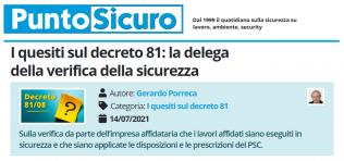 PuntoSicuro - I quesiti sul decreto 81: la delega della verifica della sicurezza