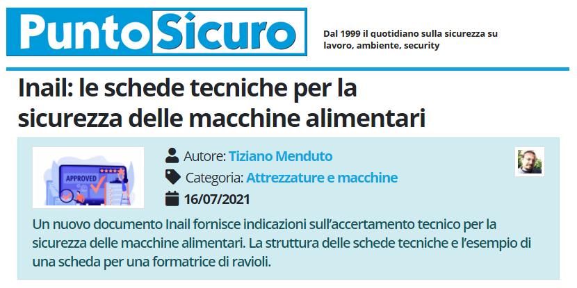 PuntoSicuro - Inail: le schede tecniche per la sicurezza delle macchine alimentari