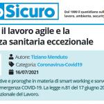 PuntoSicuro - Novità per il lavoro agile e la sorveglianza sanitaria eccezionale