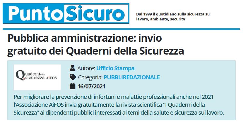 PuntoSicuro - Pubblica amministrazione: invio gratuito dei Quaderni della Sicurezza