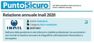 PuntoSicuro - Relazione annuale Inail 2020