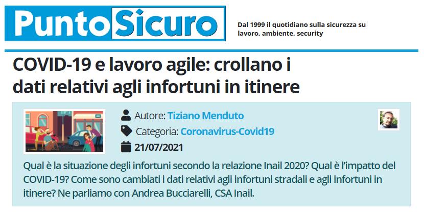 PuntoSicuro - COVID-19 e lavoro agile: crollano i dati relativi agli infortuni in itinere
