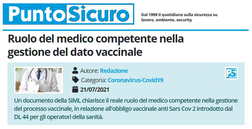 PuntoSicuro - Ruolo del medico competente nella gestione del dato vaccinale