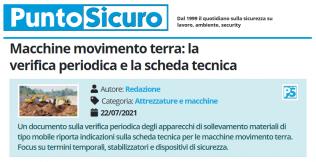 PuntoSicuro - Macchine movimento terra: la verifica periodica e la scheda tecnica