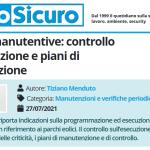 PuntoSicuro - Attività manutentive: controllo dell'esecuzione e piani di manutenzione