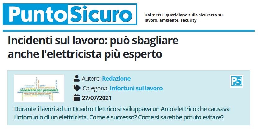 PuntoSicuro - Incidenti sul lavoro: può sbagliare anche l'elettricista più esperto