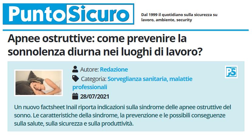 PuntoSicuro - Apnee ostruttive: come prevenire la sonnolenza diurna nei luoghi di lavoro?