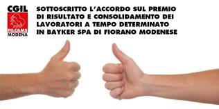Sottoscritto l'accordo sul premio di risultato e consolidamento dei lavoratori a tempo determinato in Bayker Spa di Fiorano Modenese - 5/8/2021