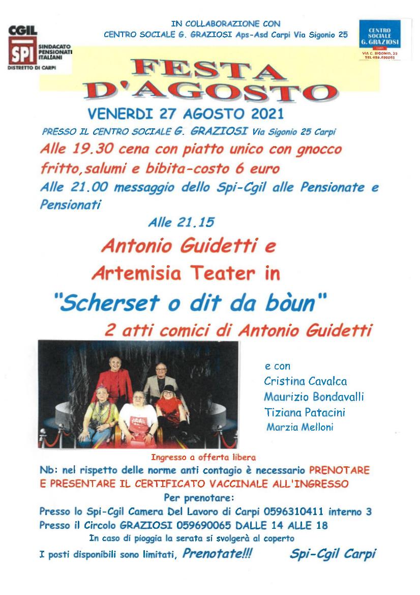 Festa di agosto dello Spi Cgil a Carpi - Locandina