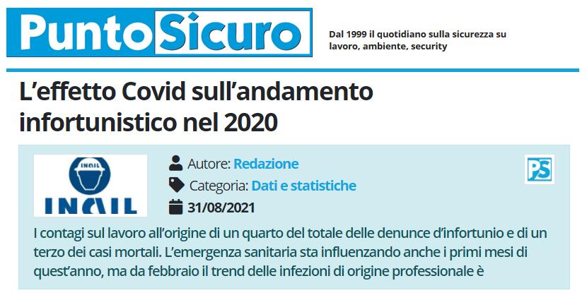 PuntoSicuro - L'effetto Covid sull'andamento infortunistico nel 2020