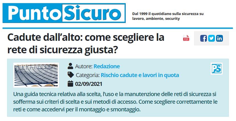 PuntoSicuro - Cadute dall'alto: come scegliere la rete di sicurezza giusta?