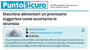 PuntoSicuro - Macchine alimentari: un prontuario suggerisce come accertarne la sicurezza