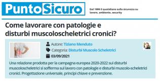 PuntoSicuro - Come lavorare con patologie e disturbi muscoloscheletrici cronici?