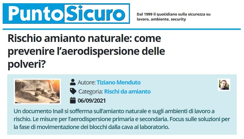 PuntoSicuro - Rischio amianto naturale: come prevenire l'aerodispersione delle polveri?