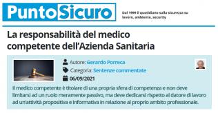 PuntoSicuro - La responsabilità del medico competente dell'Azienda Sanitaria