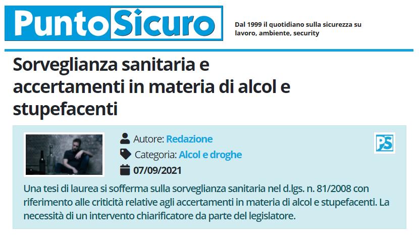 PuntoSicuro - Sorveglianza sanitaria e accertamenti in materia di alcol e stupefacenti