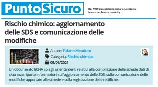 PuntoSicuro - Rischio chimico: aggiornamento delle SDS e comunicazione delle modifiche
