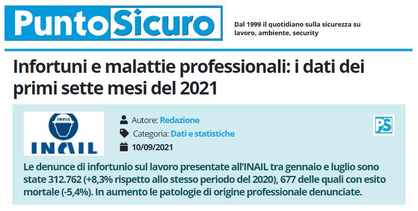 PuntoSicuro - Infortuni e malattie professionali: i dati dei primi sette mesi del 2021