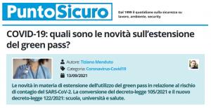 PuntoSicuro - COVID-19: quali sono le novità sull'estensione del green pass?