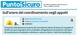 PuntoSicuro - Sull'onere del coordinamento negli appalti