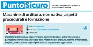 PuntoSicuro - Macchine di orditura: normativa, aspetti procedurali e formazione