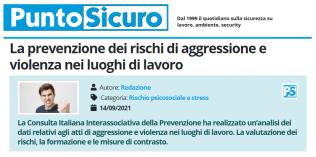 PuntoSicuro - La prevenzione dei rischi di aggressione e violenza nei luoghi di lavoro