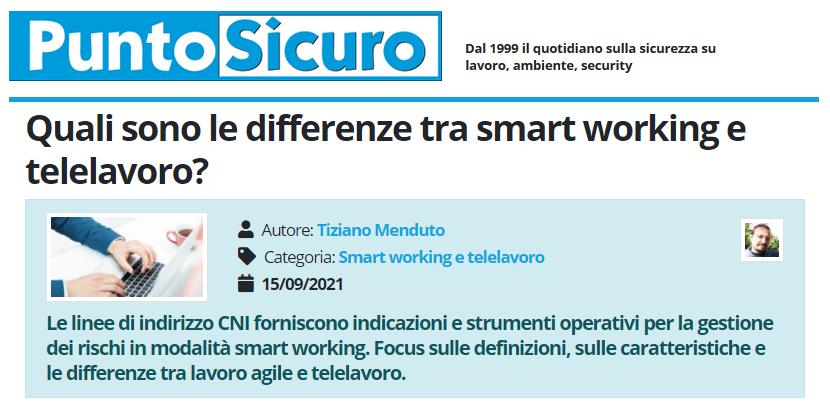 PuntoSicuro - Quali sono le differenze tra smart working e telelavoro?