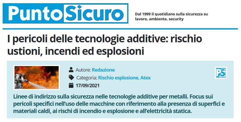 PuntoSicuro - I pericoli delle tecnologie additive: rischio ustioni, incendi ed esplosioni