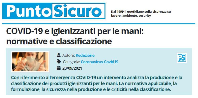 PuntoSicuro - COVID-19 e igienizzanti per le mani: normative e classificazione