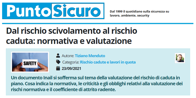 PuntoSicuro - Dal rischio scivolamento al rischio caduta: normativa e valutazione