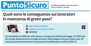 PuntoSicuro - Quali sono le conseguenze sui lavoratori in mancanza di green pass?