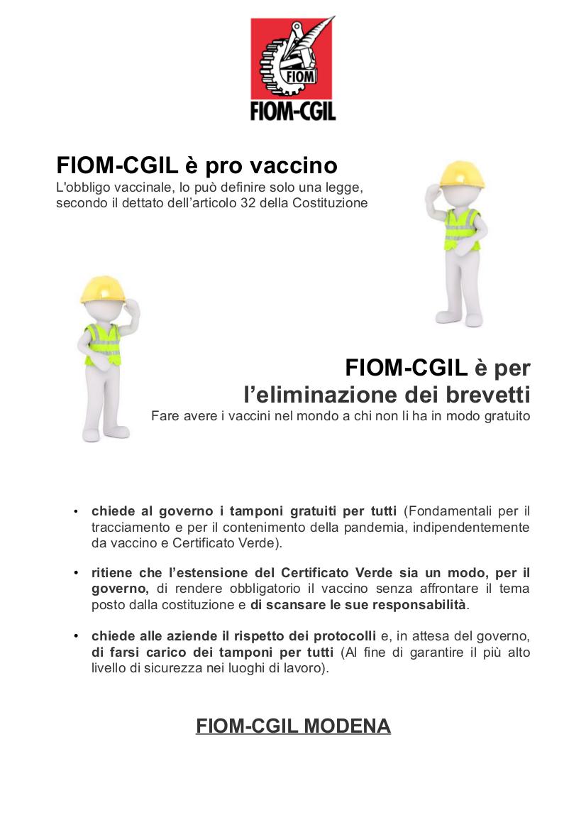 Fiom Cgil è pro vaccino e per l'eliminazione dei brevetti