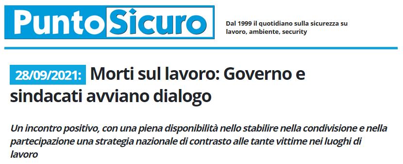 PuntoSicuro - Morti sul lavoro: Governo e sindacati avviano dialogo
