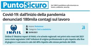 PuntoSicuro - Covid-19: dall'inizio della pandemia denunciati 180mila contagi sul lavoro