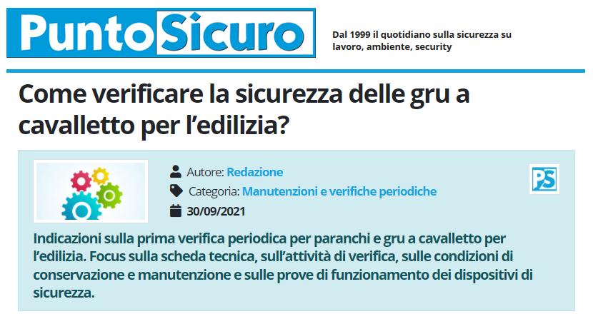 PuntoSicuro - Come verificare la sicurezza delle gru a cavalletto per l'edilizia?