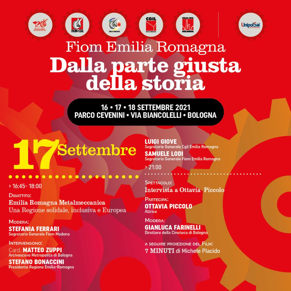 Festa della Fiom Cgil Emilia-Romagna, 120 anni dalla parte giusta della storia (Bologna, 17 settembre 2021)