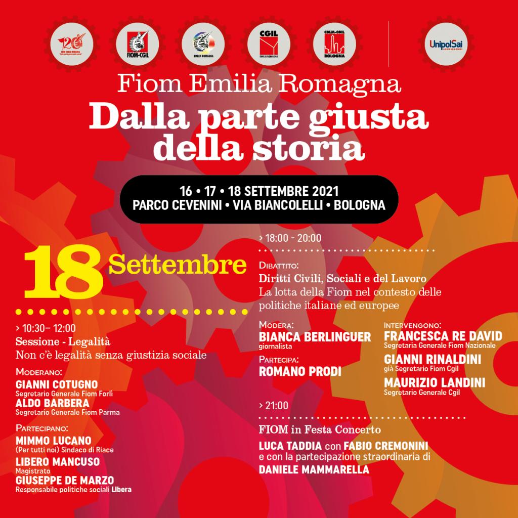 Festa della Fiom Cgil Emilia-Romagna, 120 anni dalla parte giusta della storia (Bologna, 18 settembre 2021)