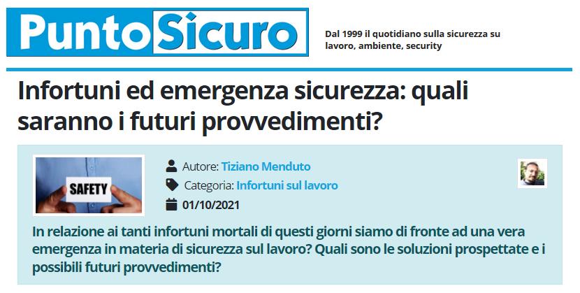 PuntoSicuro - Infortuni ed emergenza sicurezza: quali saranno i futuri provvedimenti?