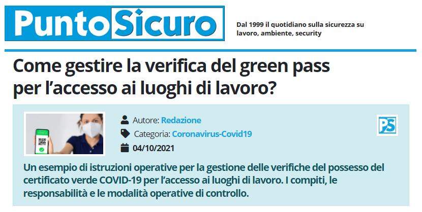 PuntoSicuro - Come gestire la verifica del green pass per l'accesso ai luoghi di lavoro?