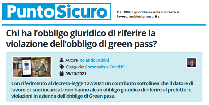PuntoSicuro - Chi ha l'obbligo giuridico di riferire la violazione dell'obbligo di green pass?