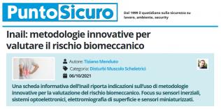 PuntoSicuro - Inail: metodologie innovative per valutare il rischio biomeccanico